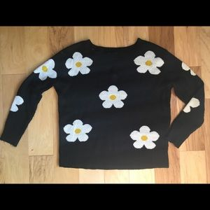 Black and White Daisy Sweater